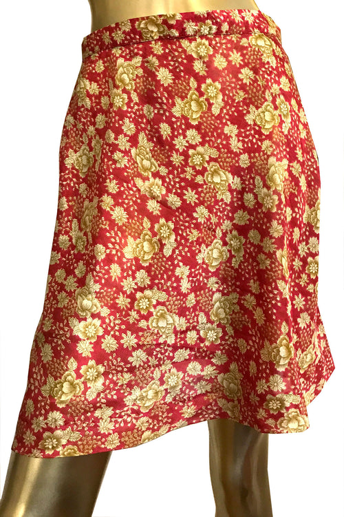 Red & Gold A-Line Floral Skirt - Short