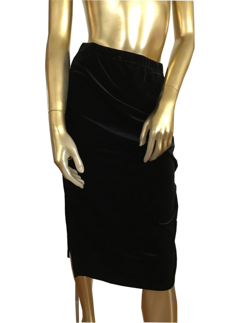 Versatile Black Velvet Skirt with Side Gather