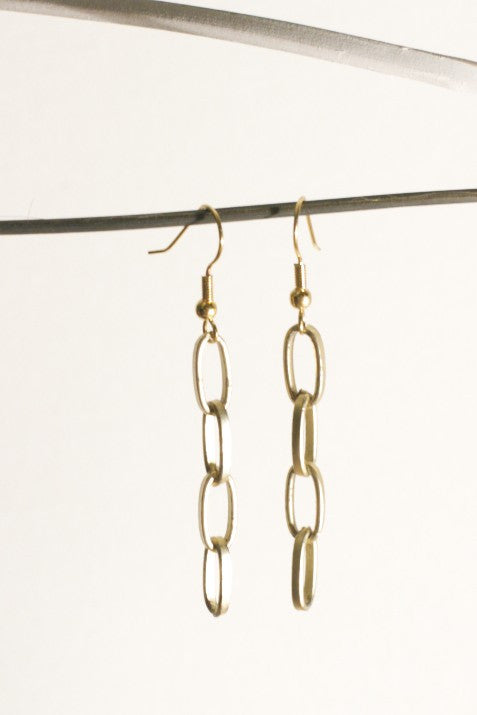 Gold Colored Chain Earrings