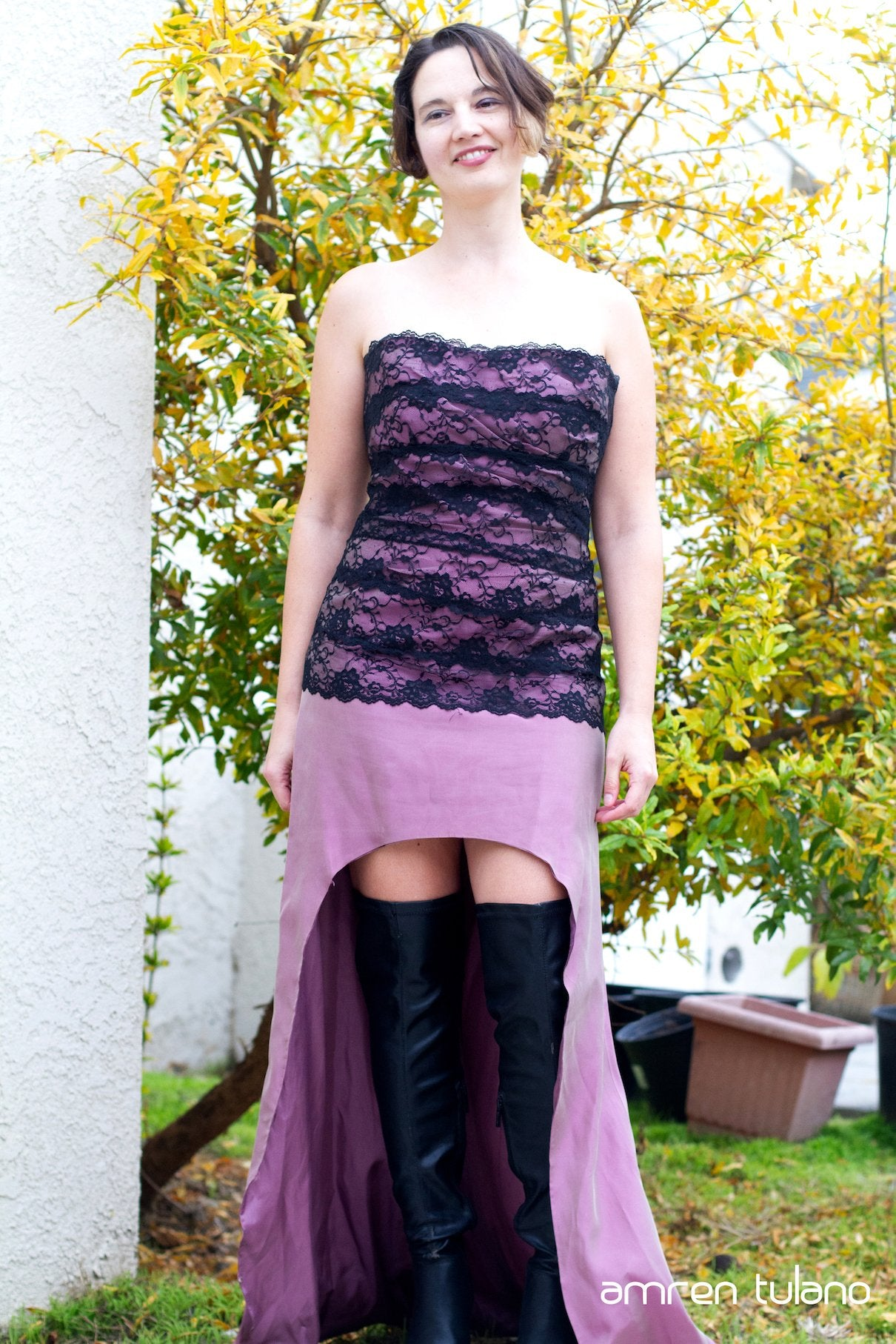 Black Lace & Magenta Sateen Gown