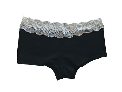 Black Organic Cotton Boy Shorts with White Lace