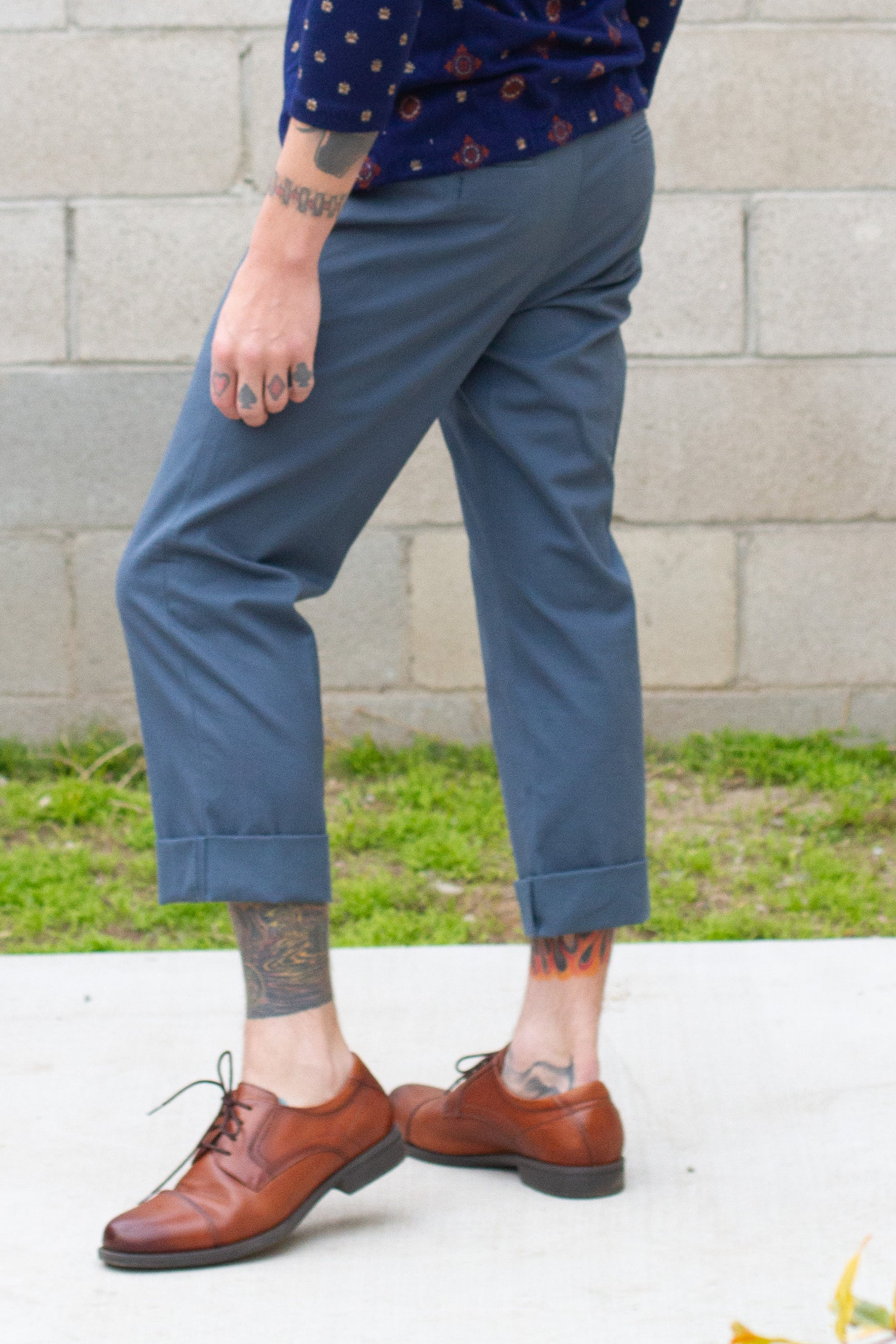 Cropped Teal Blue Trouser Pants