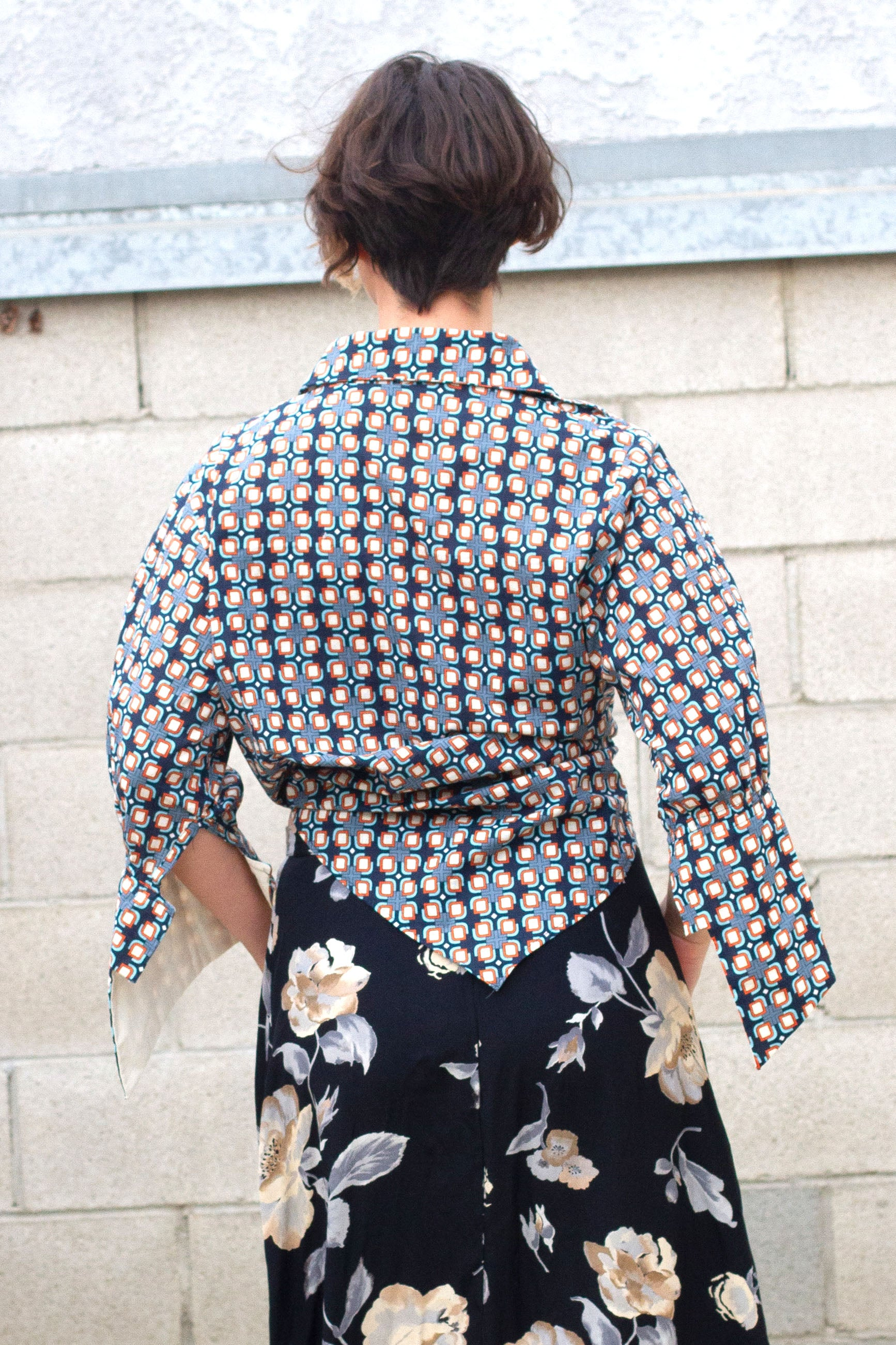 Retro Geometric Print Button Down Shirt with French Sleeves