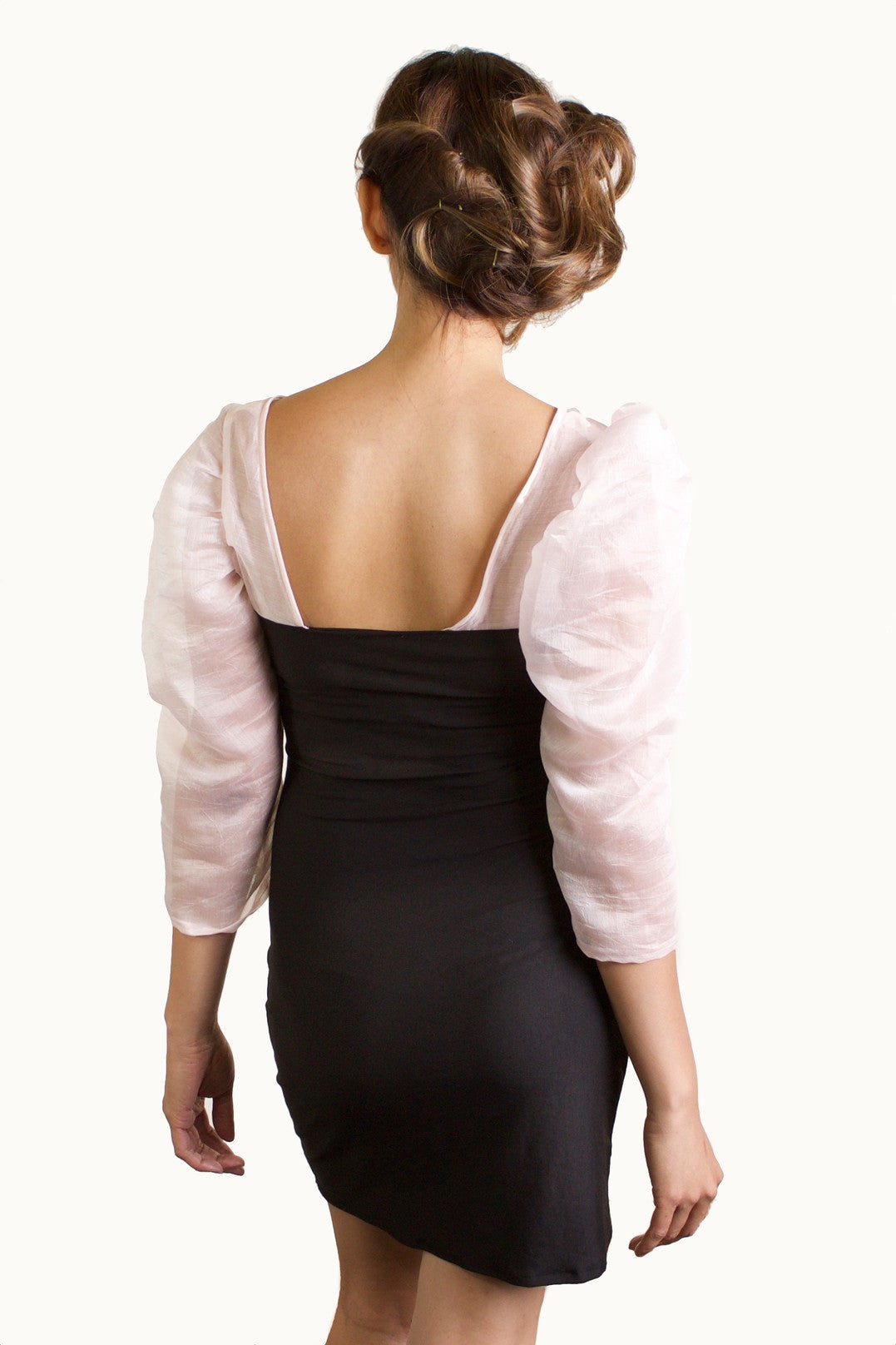 Black Knit Body Contour Dress Pink Sleeves back