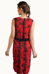 Floral Red and Black Dress