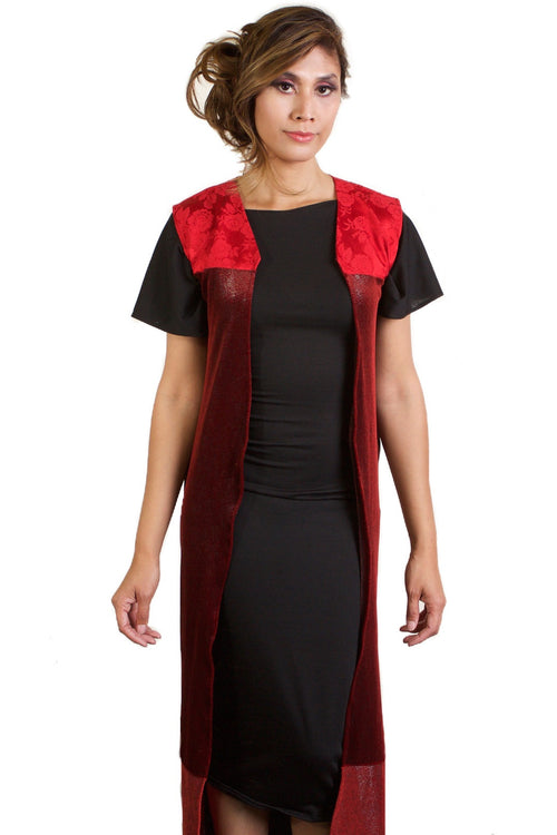 Red and Black Open Vest Style Floor-Length Cardigan
