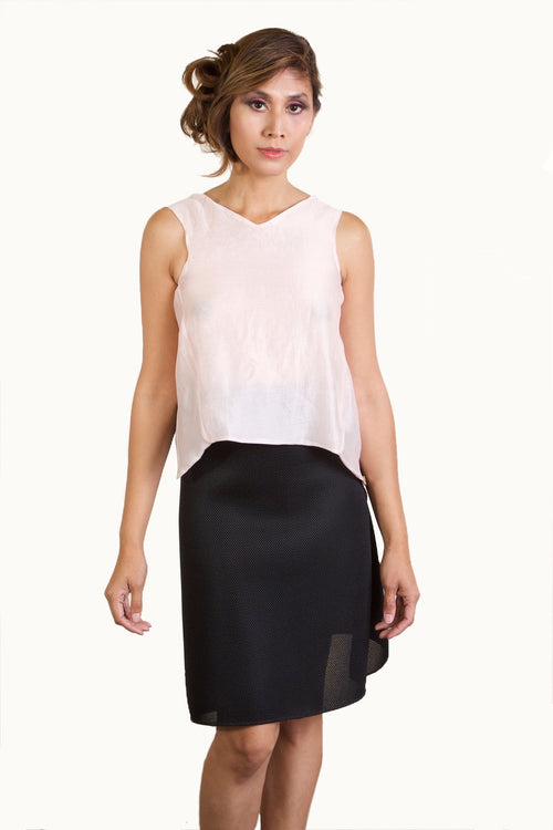 2-Piece Dress - Pink Backless Top and Black A-Line Skirt
