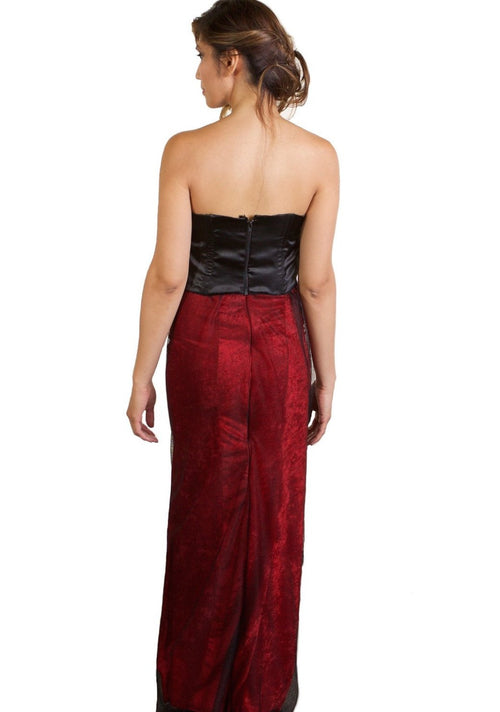 2-Piece Dress - Black Corset Top and Red Velvet Black Mesh Skirt
