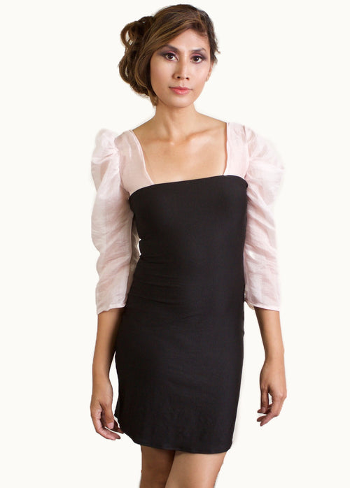Black Knit Body Contour Dress Pink Sleeves front