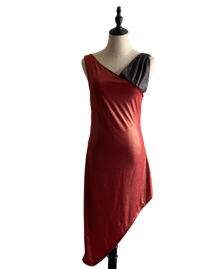 Sexy Red V-neck Dress with Asymmetrical Hem