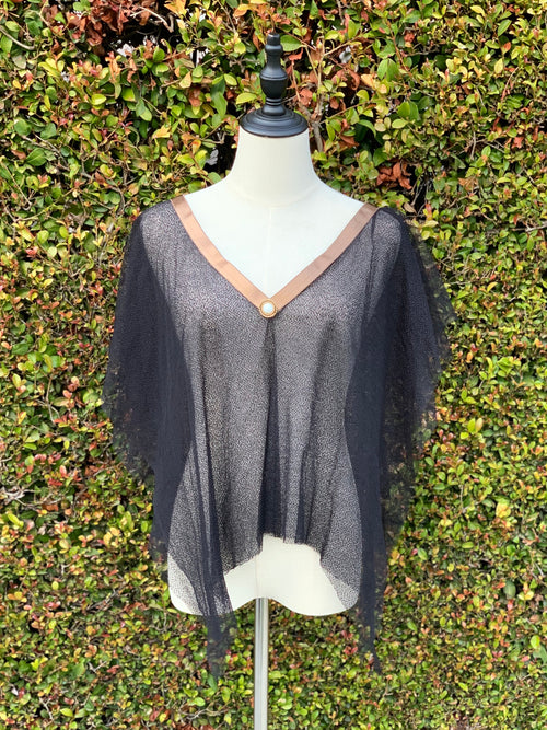 V-Neck Mesh Top with Copper Ribbon Trim