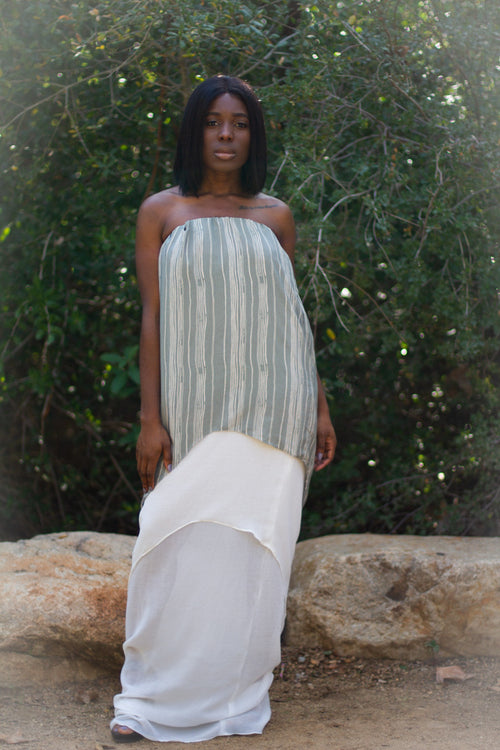 Strapless Green and White Maxi Dress