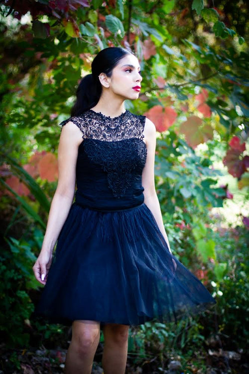 Black Lace and Tulle Muse Dress