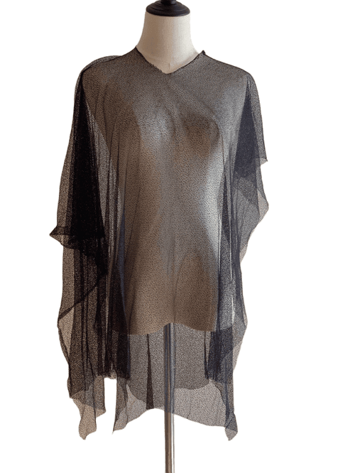 Asymmetric Black Mesh Cover Up Top