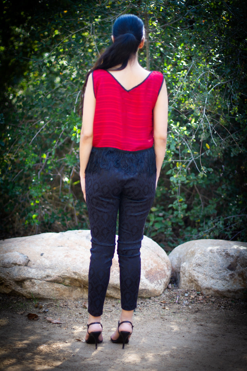 Red Tank with Black Fringe Hem