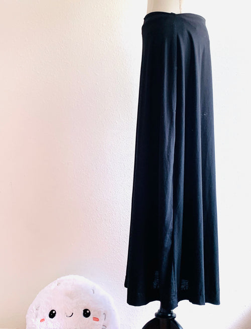 Black A-Line Soft Knit Maxi Skirt Long