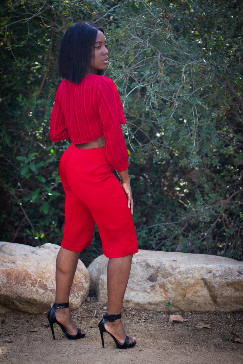 Red Siren Crop Top and Pant Outfit