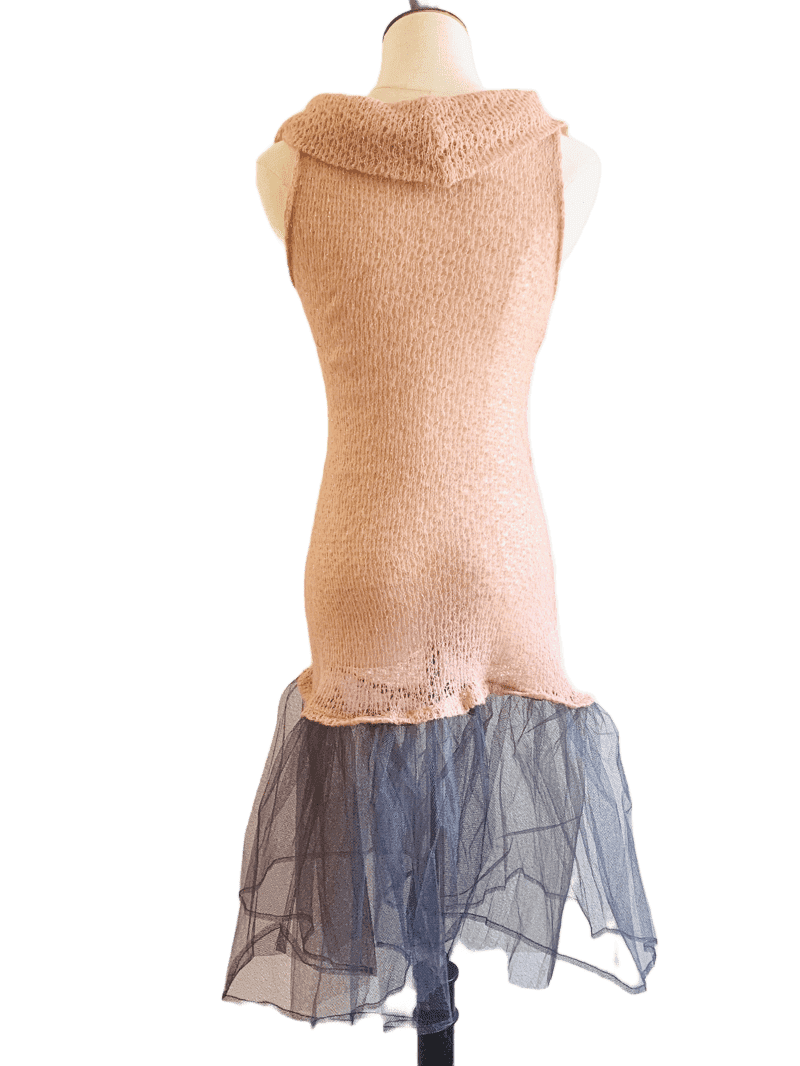 Sheer pink knit dress with black mesh skirt