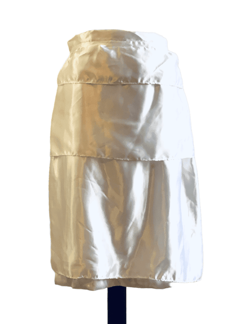 White tiered satin skirt