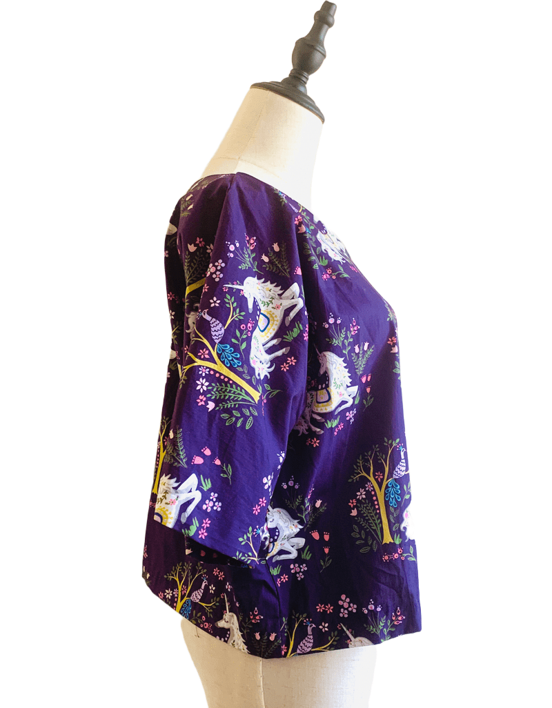 Unicorn Kimono Sleeve Crop Top made of 100% organic cotton