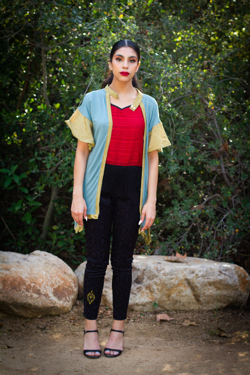 Deco Muse Teal and Gold Cardigan