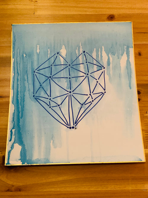 Geometric Blue Heart Painting by Ami Tung