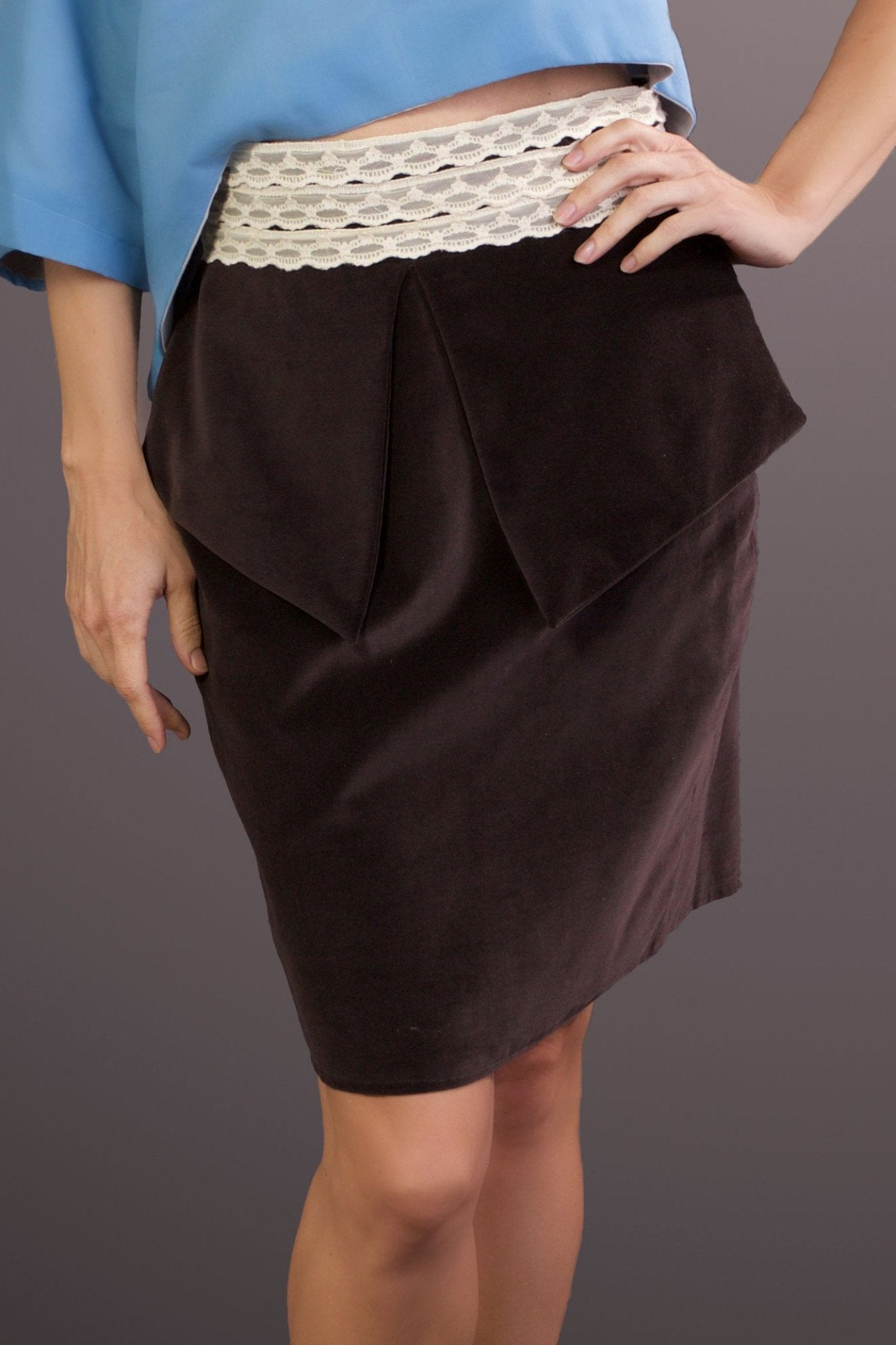 Freedom to Re-Invent - Organic Cotton Brown Velvet Pencil Skirt
