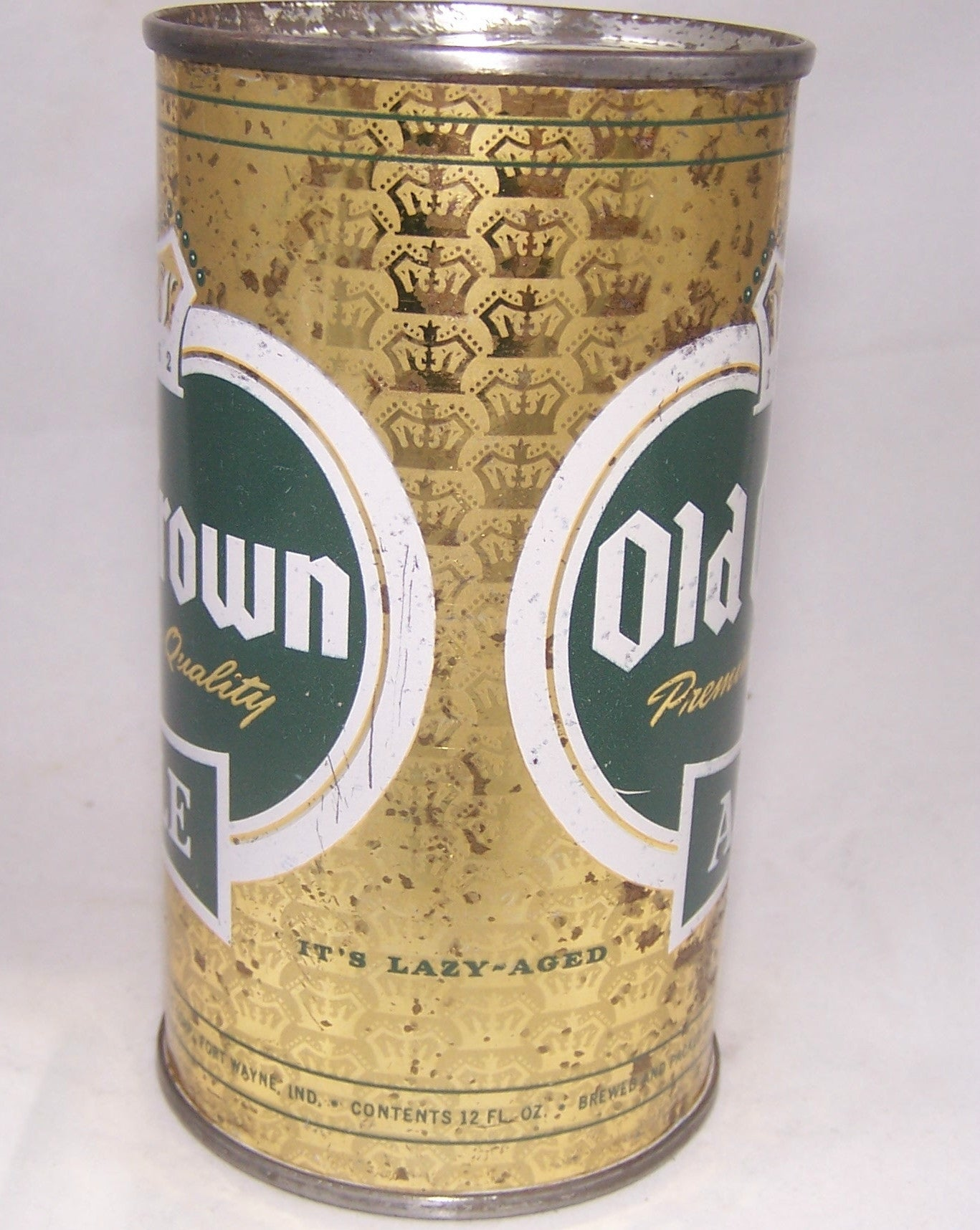 Old Crown Ale set can (Lazy Aged on Side) USBC 105-08, Grade 1-/2+ Sold on 11/23/16