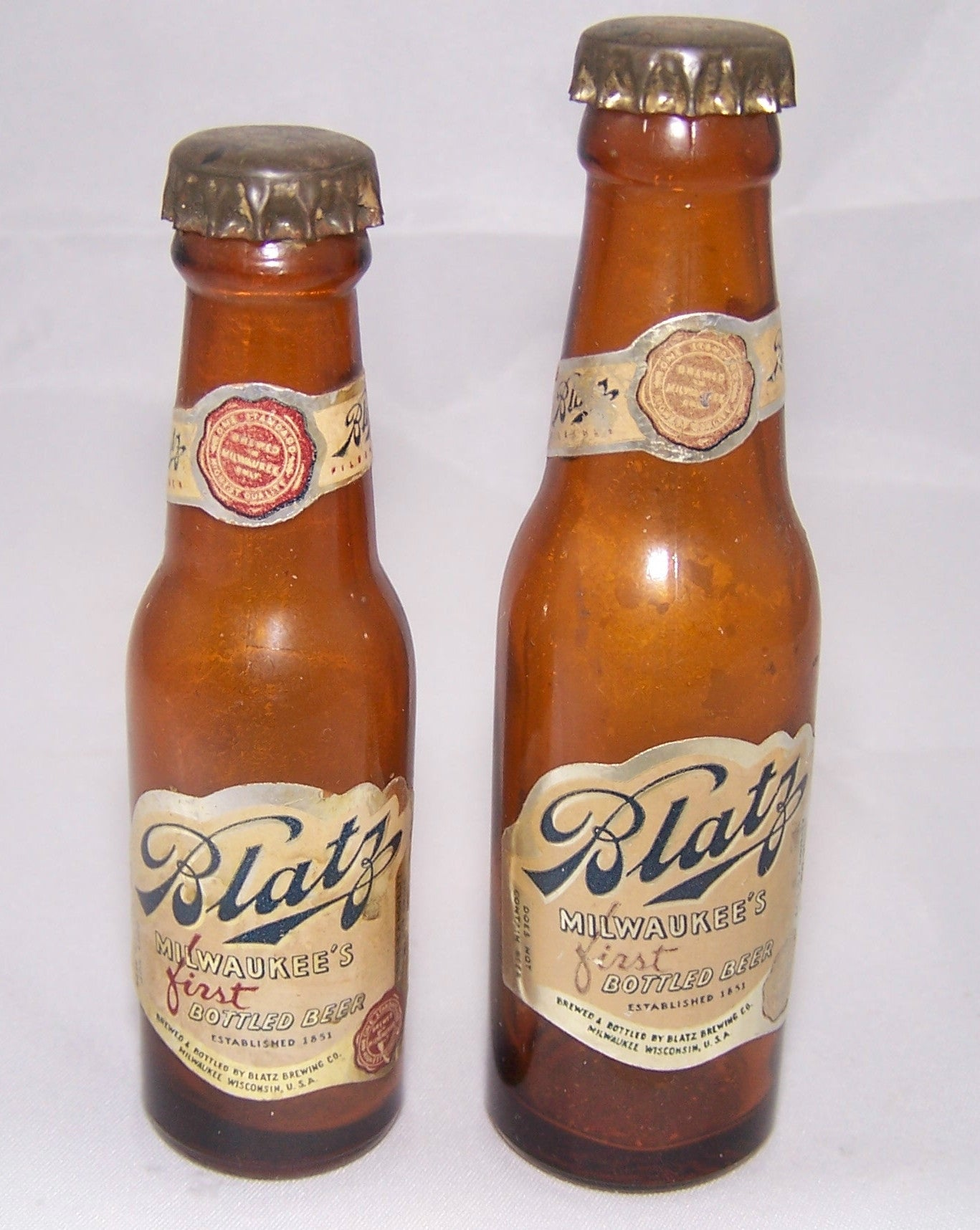 Blatz First Bottled beer mini Bottles. Sold  3/14/15