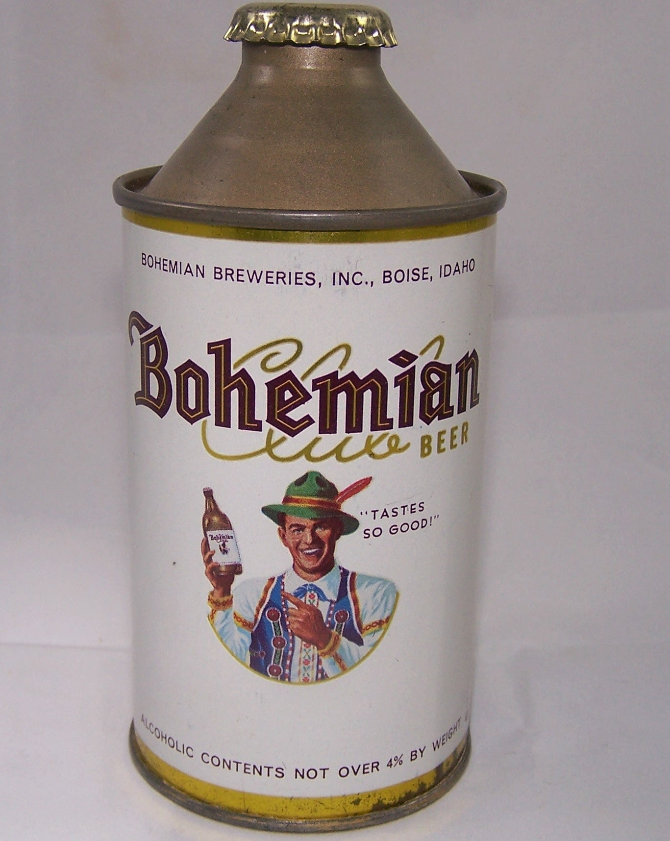 Bohemian Club N.O 4% Alc, USBC 154-3, Rolled Can, Grade 1/1+ Sold 4/12/15