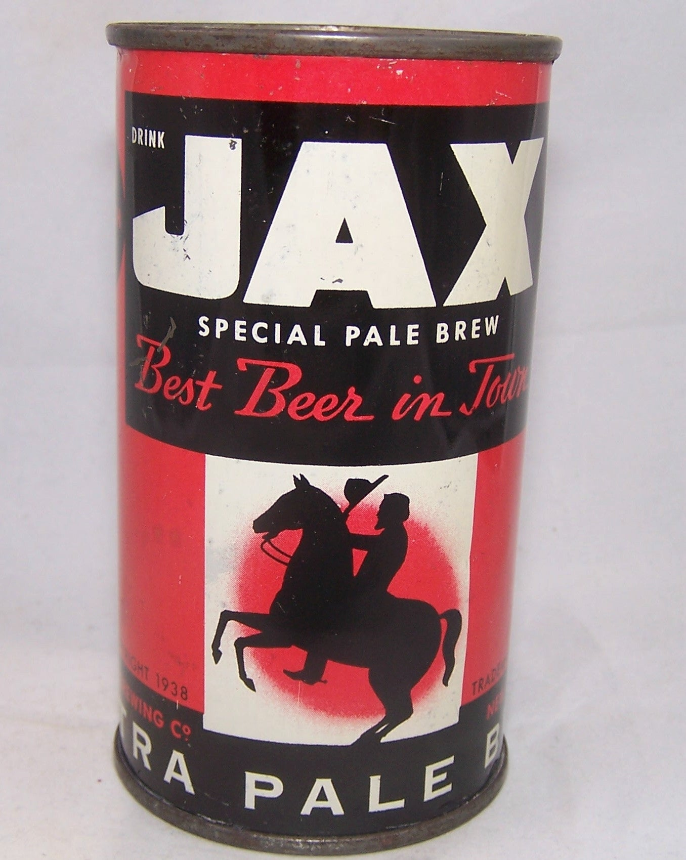 "Jax Extra Pale Beer, ""Best Beer In Town"" USBC 86-09, Grade 1ish  Sold on 2/20/18"