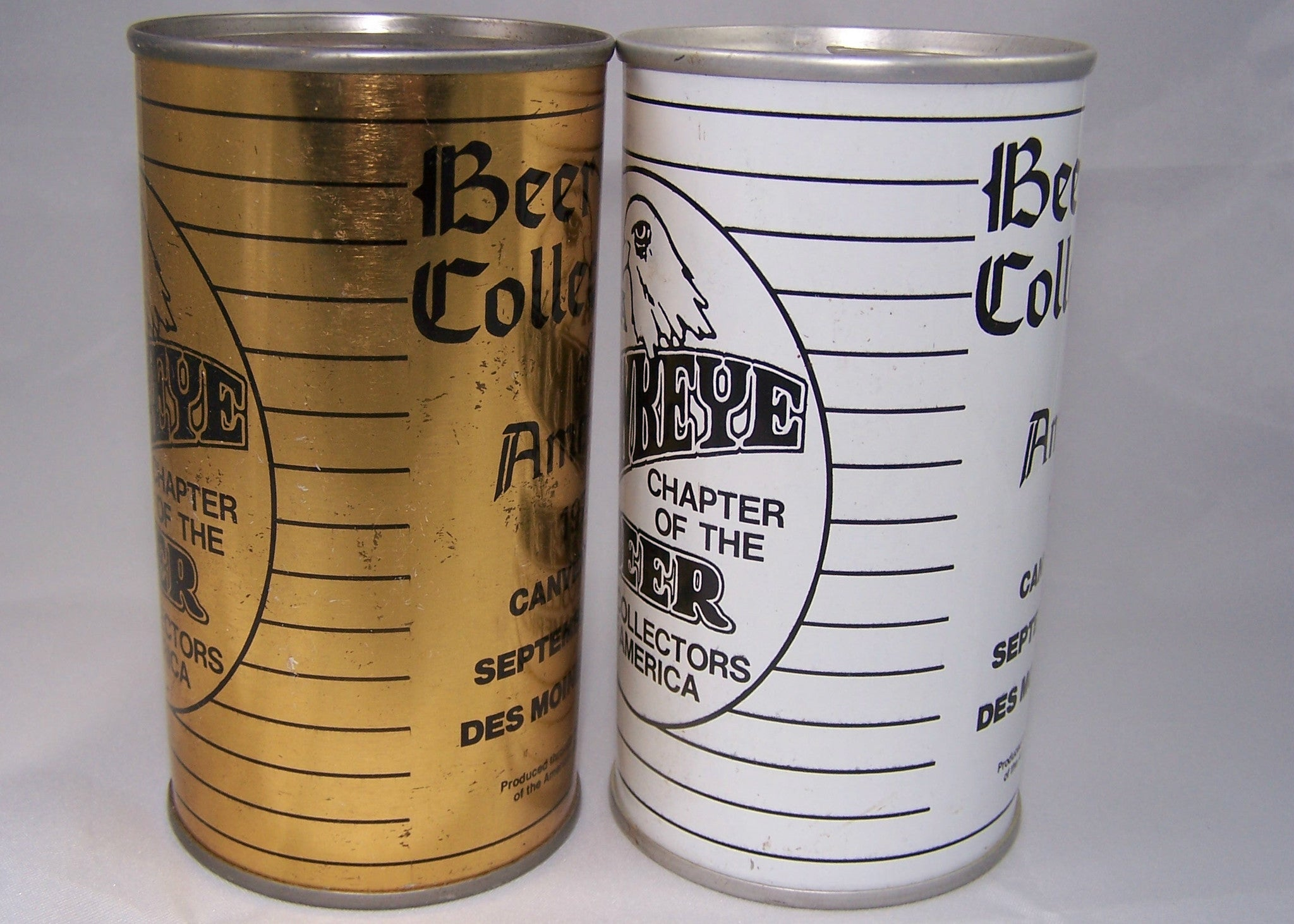Pair of BCCA 1975 Canvention cans, USBC II 208-30, and Test can. Sold 6/25/15