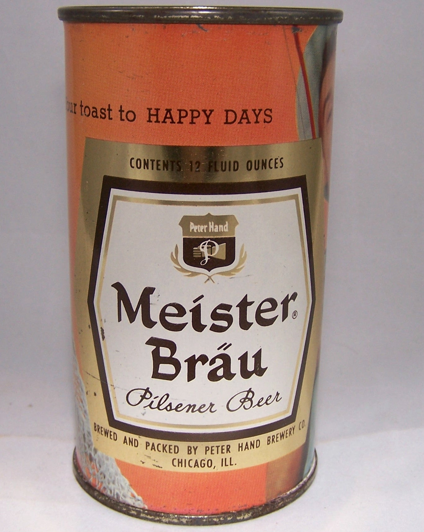 Meister Brau Happy Days Pilsener Beer (fishing) USBC80-20, Grade 1 to 1/1+ Sold on 10/10/15