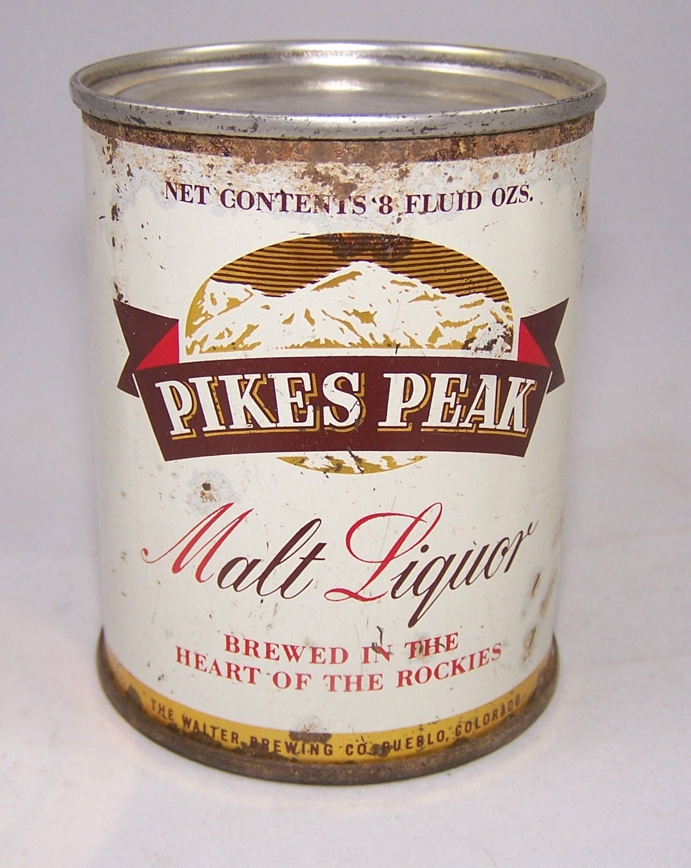 Pikes Peak Malt Liquor 8 ounce, USBC 242-6, Grade 1-/2+ Sold on 10/10/15
