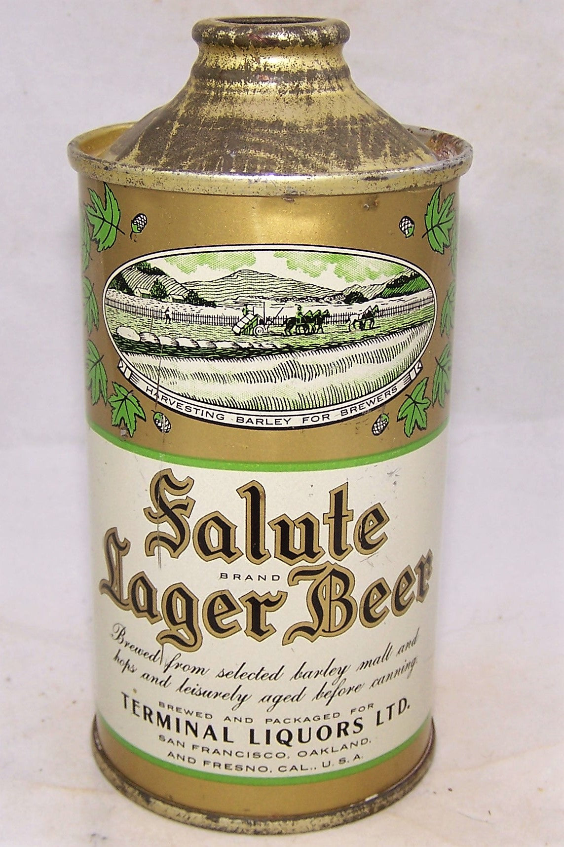 Salute Lager Beer Low Pro Cone Top, USBC 182-31, Grade 1 to 1/1+