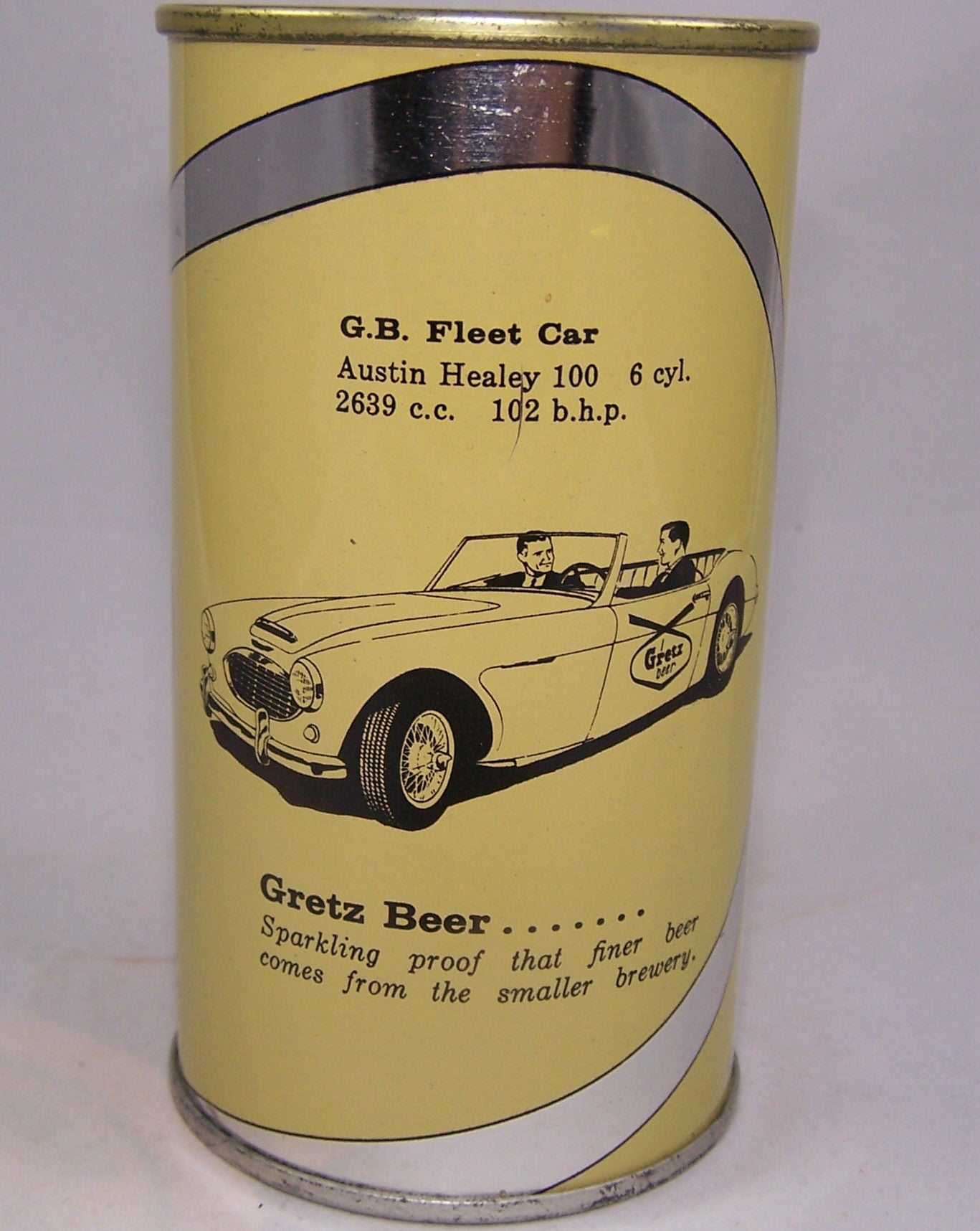 Gretz Beer, G.B Fleet Car, Austin Healey 100, (Black Letters) USBC 75-15, Grade 1/1+ Sold on 01/27/16