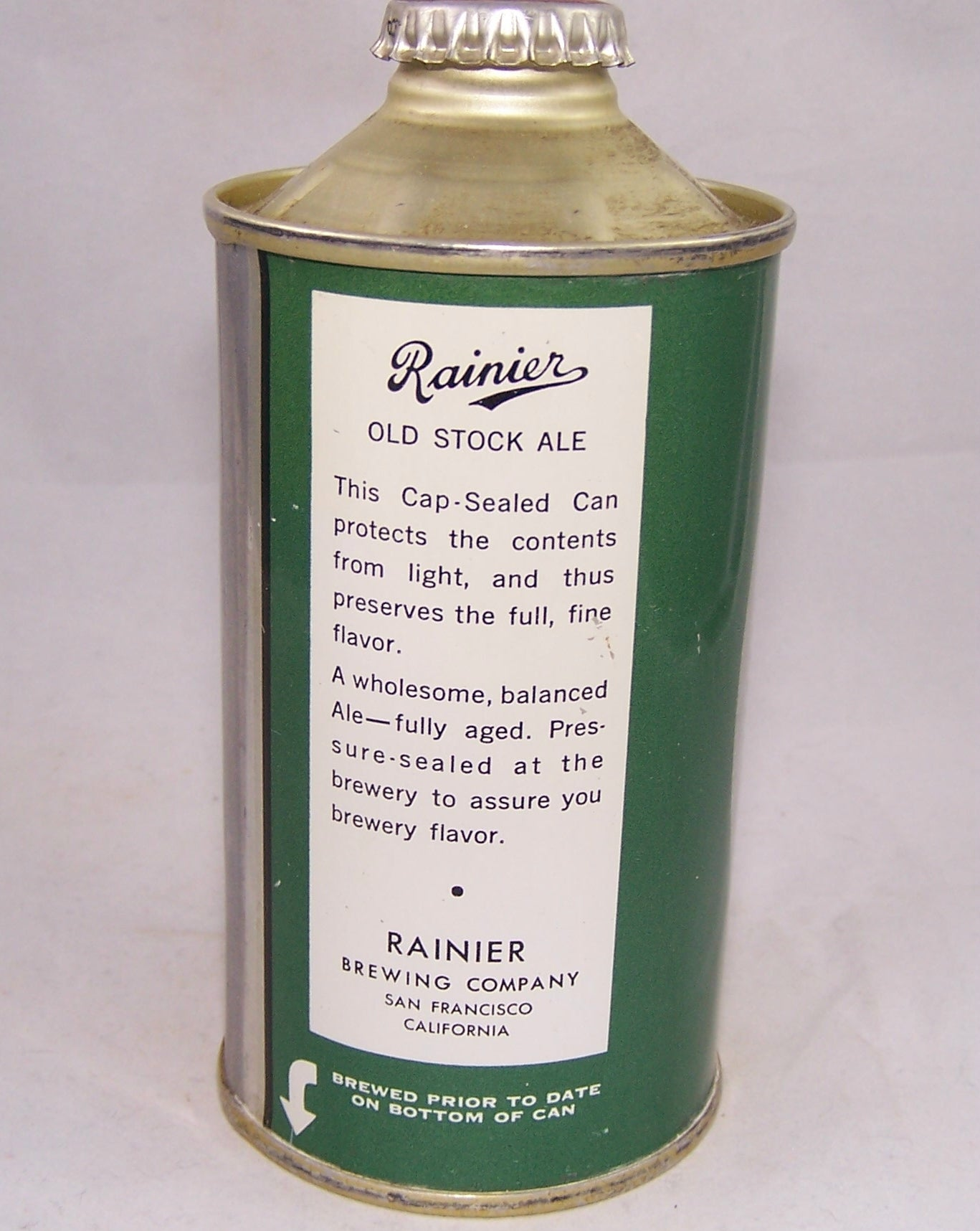 Rainier Old Stock Ale, USBC 180-03, Grade A1+ Sold on 09/01/17