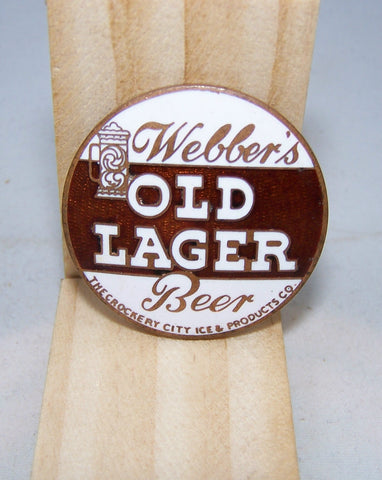 Webber's Old Lager Beer, Ball Knob Insert, Tap Marker page 122-1289, Grade 9+ Sold on 02/13/14
