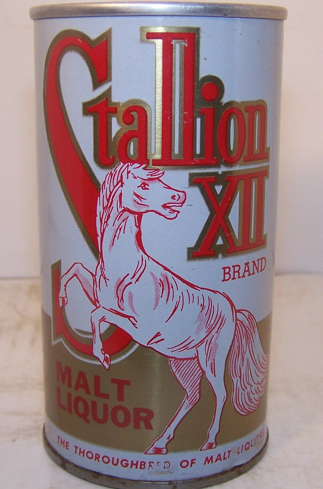 Stallion XII Malt Liquor enamel, USBC II 126-4 clean, Grade A1+ Traded on 04/02/17