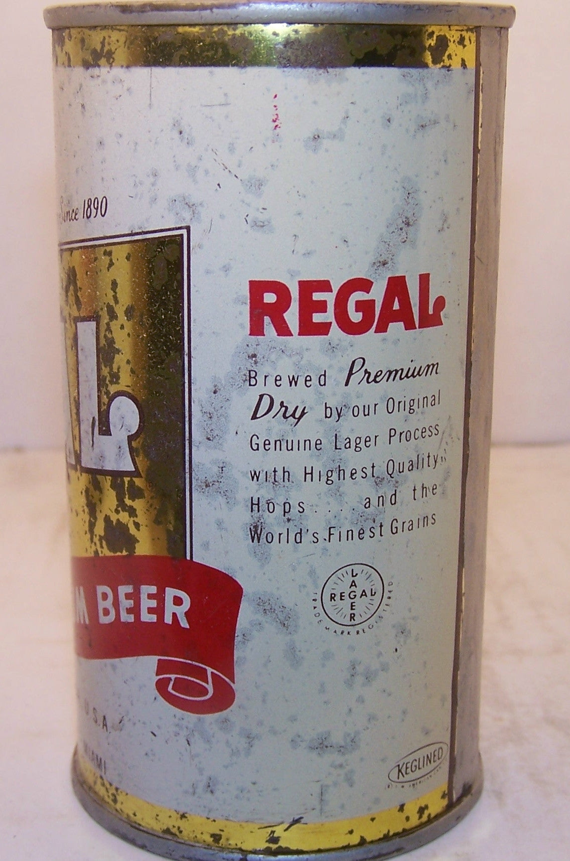 Regal Premium Beer, USBC 121-29 Rare can, Grade 2+