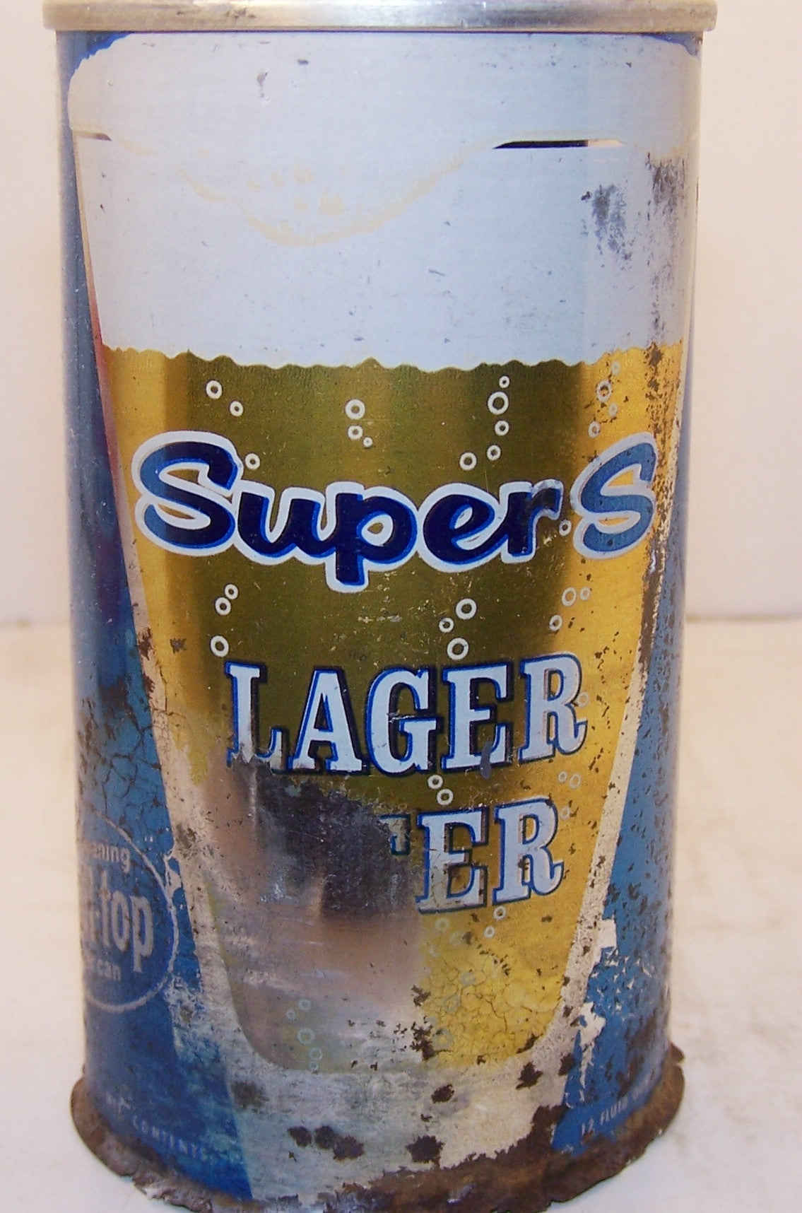 Super S lager Beer, zip intact, Grade 2- Sold 11/20/14