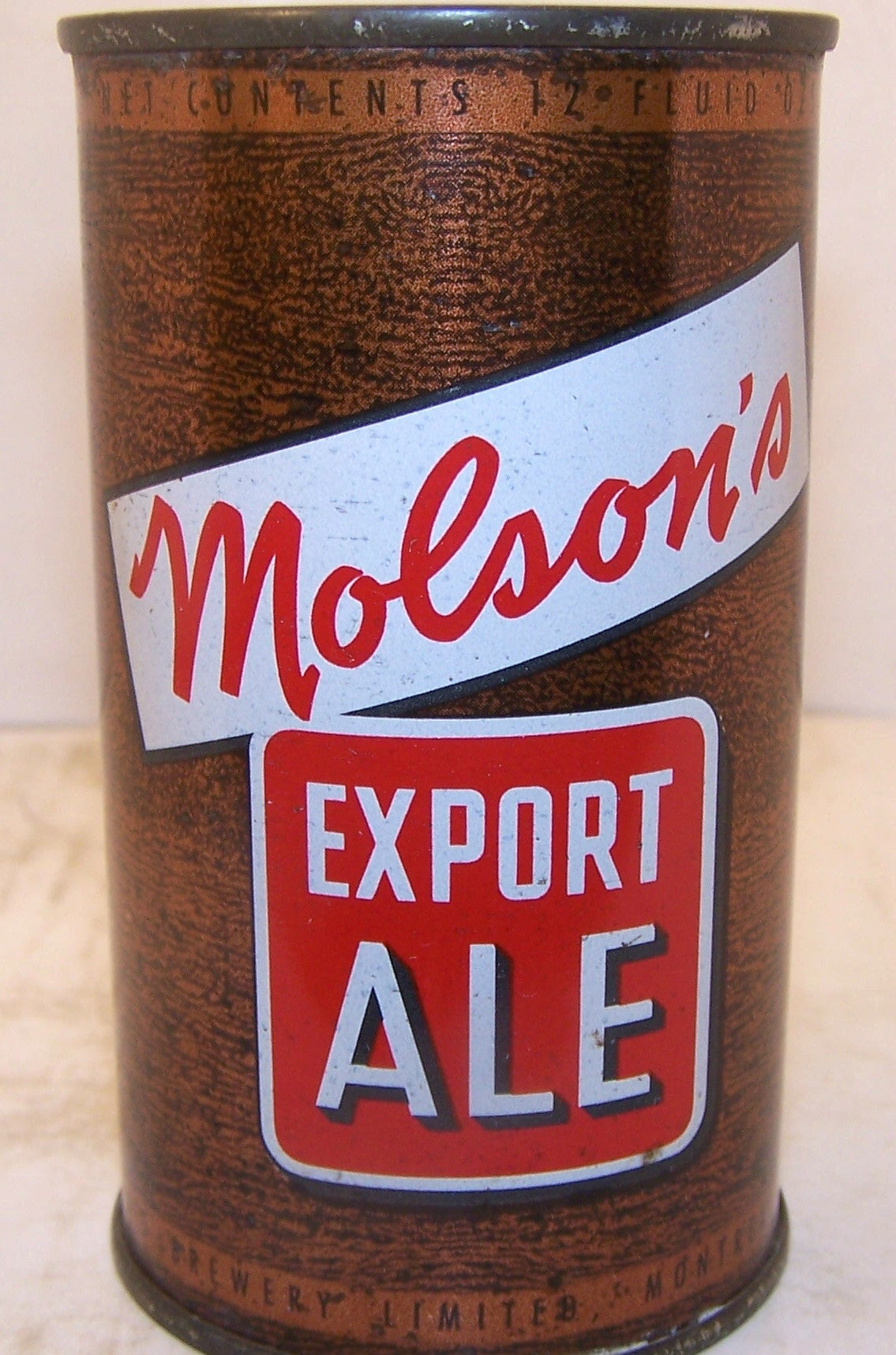 Molson's Export Ale, Clean original can, Grade 1/1+