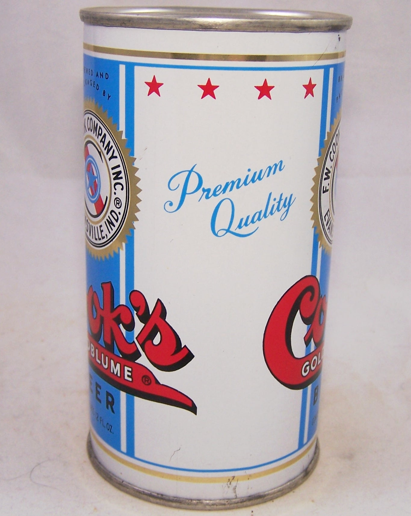 Cook's Goldblume Beer, USBC 51-10, Rolled can, Grade 1/1+ Sold