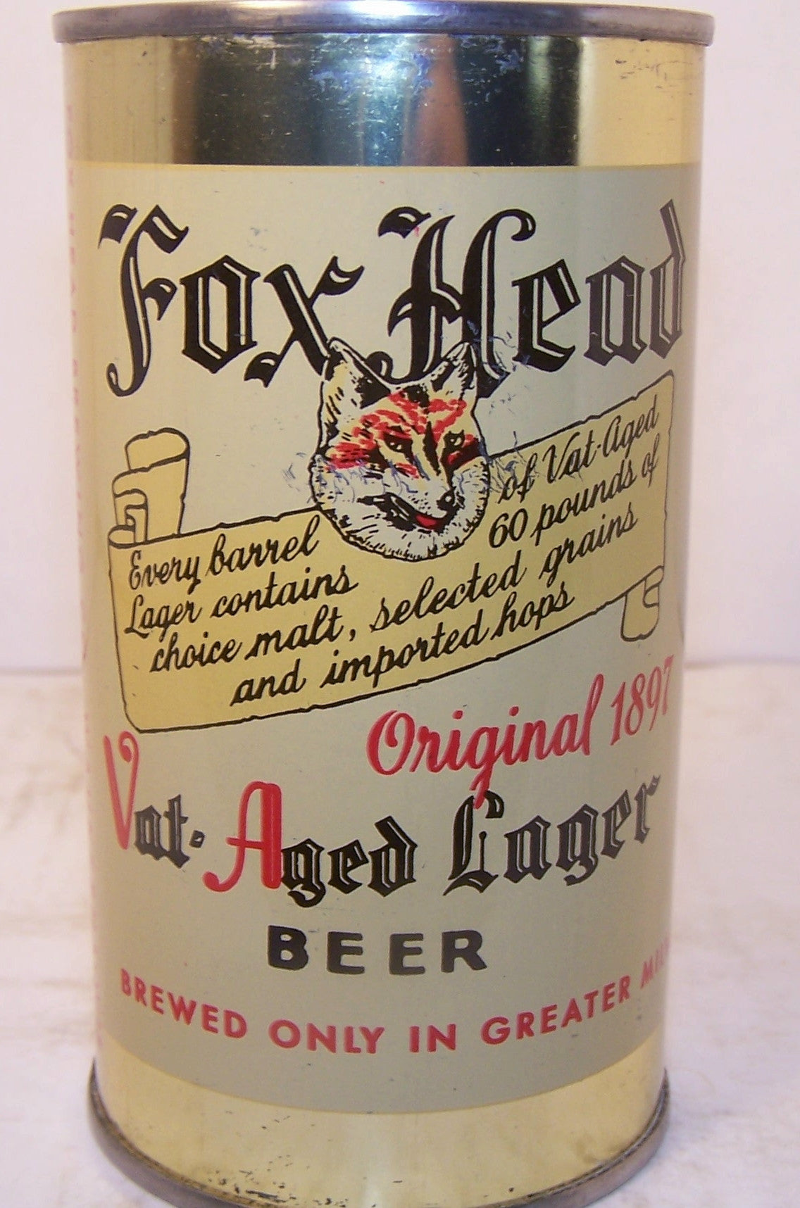 Fox Head Vat Aged Lager Beer, USBC 66-15, Grade 1/1+ Sold on 2/22/15