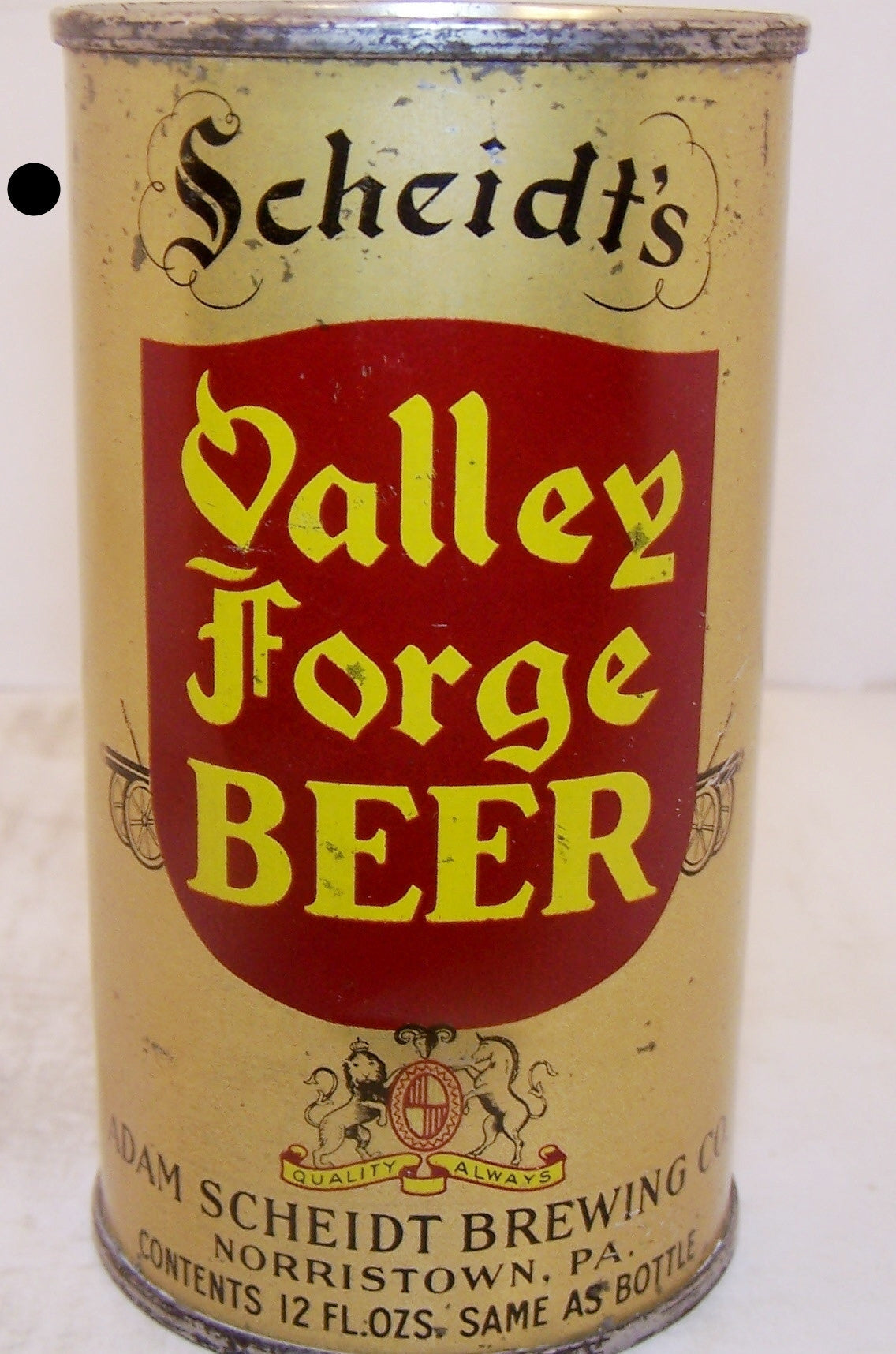 Scheidt's Valley Forge Beer, Lilek page # 837, Grade 1/1-