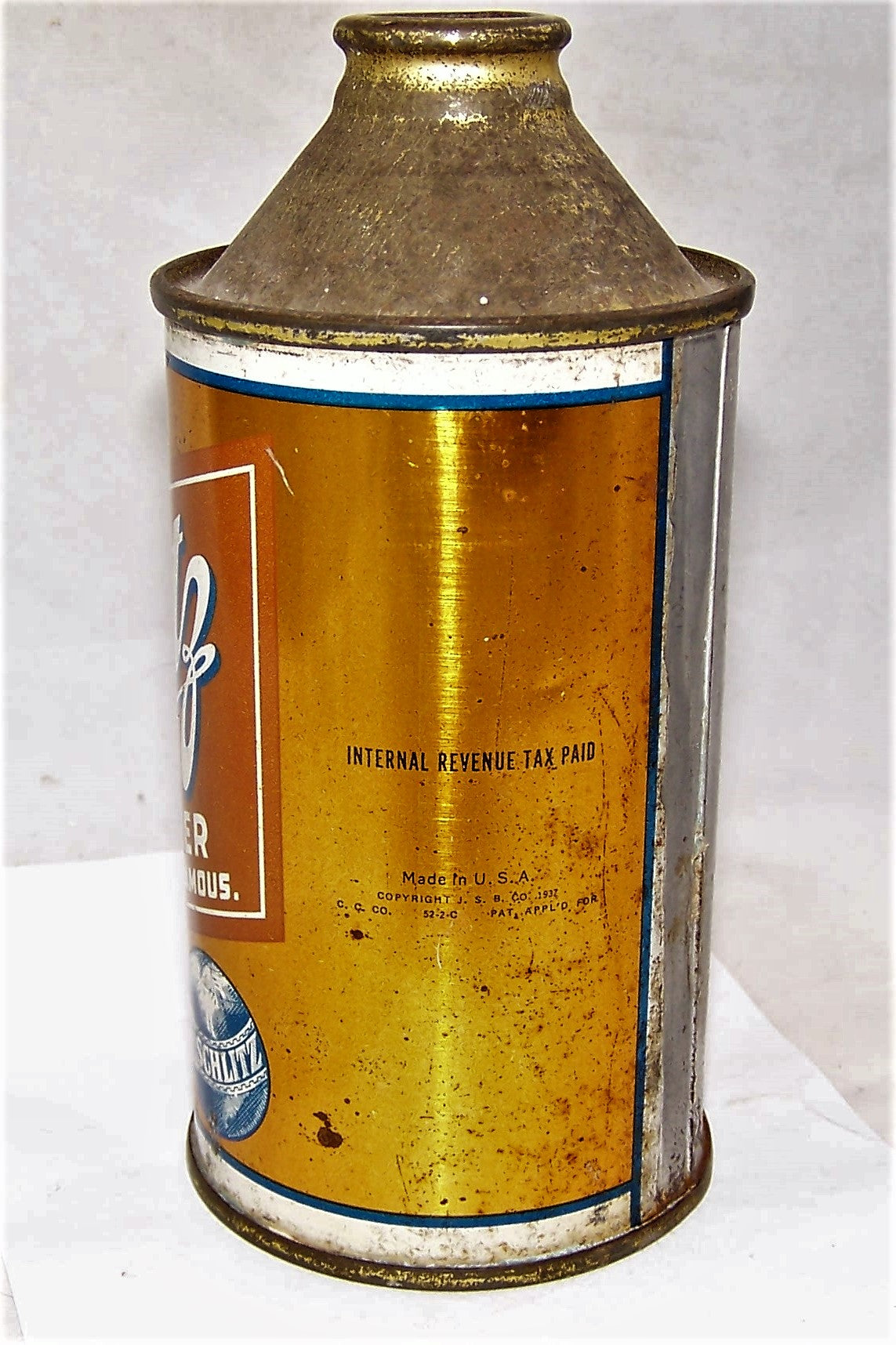Schlitz High Pro Cone Top Beer Can