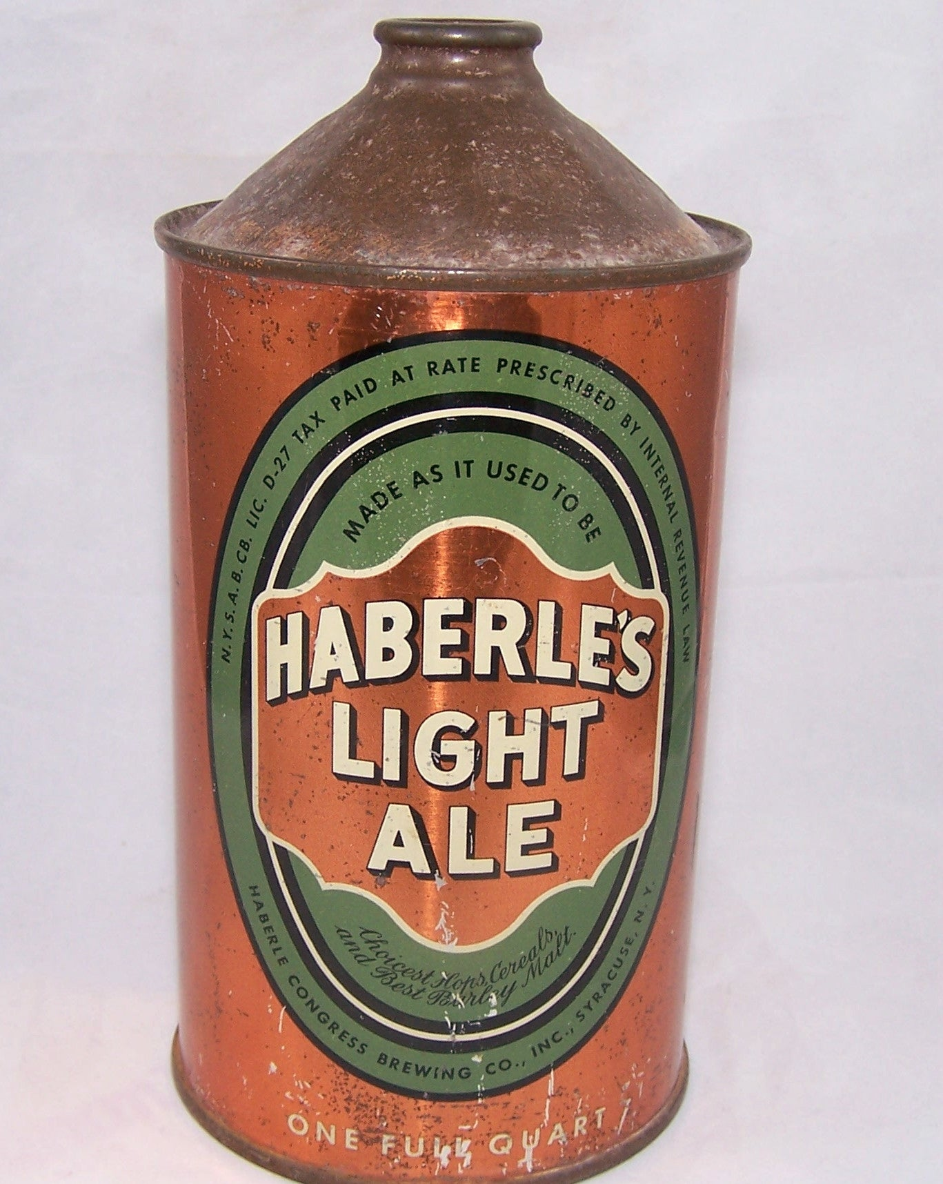 Haberle's Light Ale, USBC 211-12, Grade 1- Sold on 05/24/16