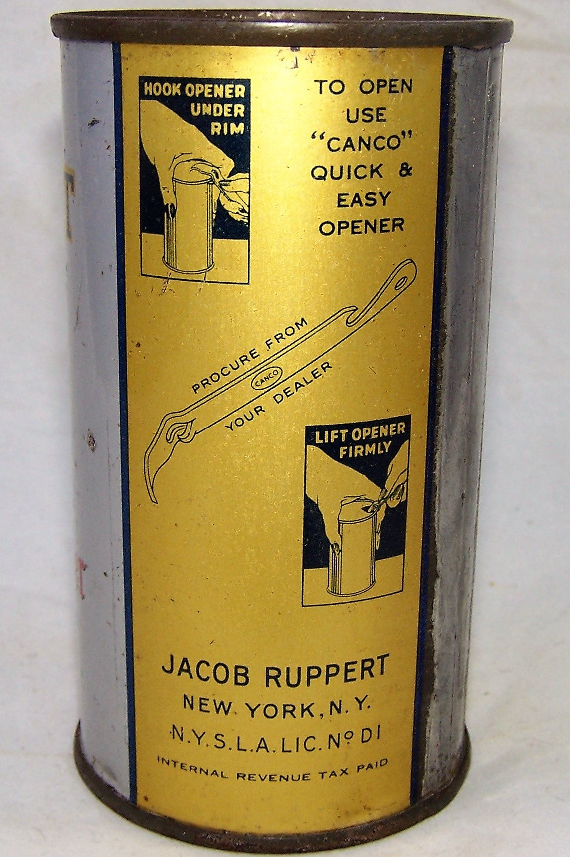 Jacob Ruppert Knickerbocker Beer Gold Back Rare can