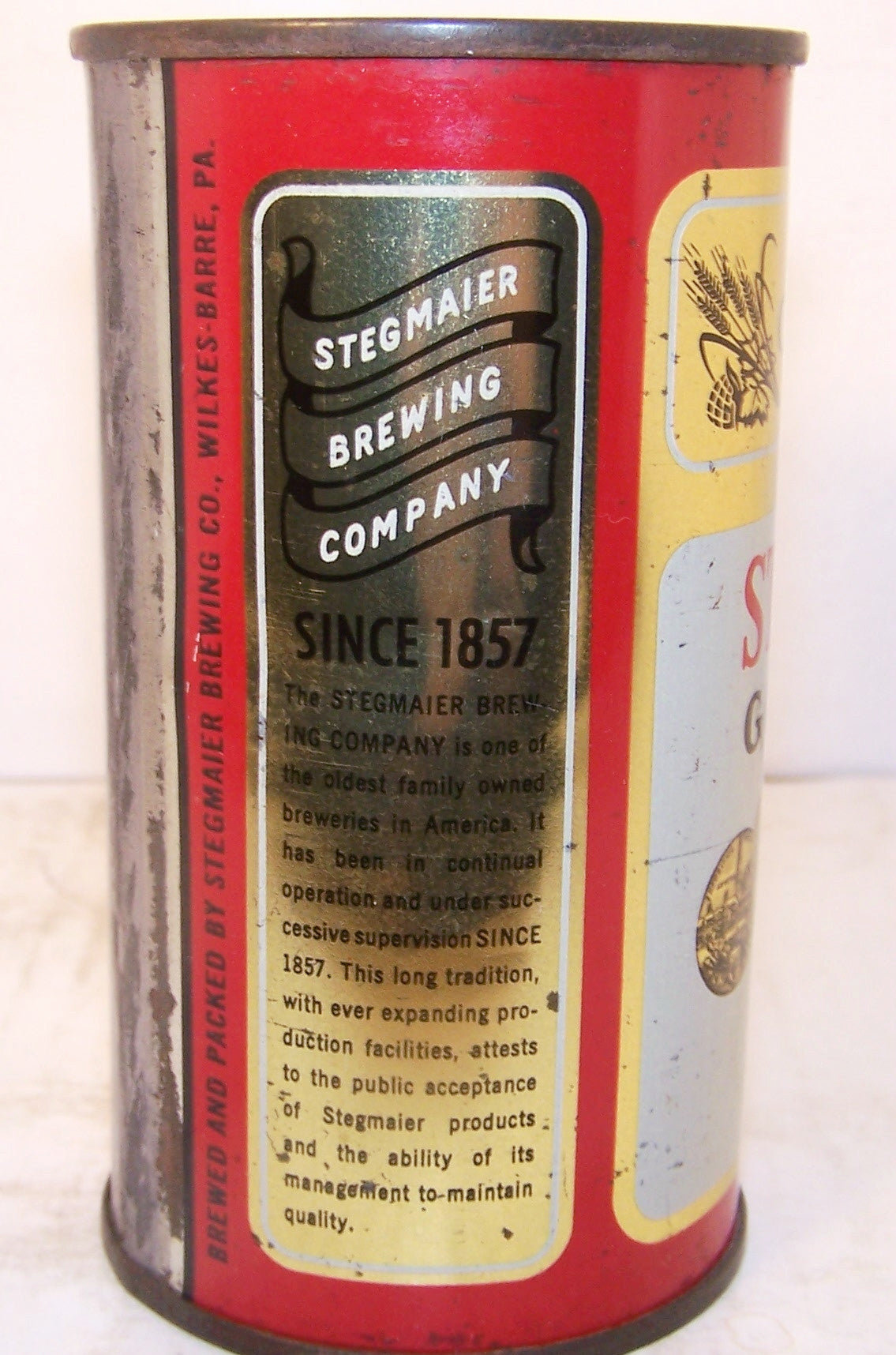 Stegmaier Gold Medal Beer, USBC 136-2, Grade 1/1+ Sold on 01/05/18