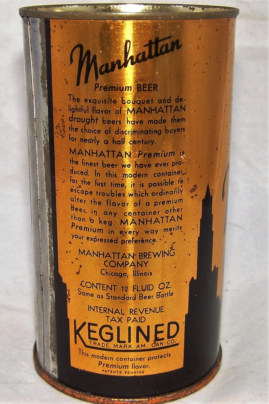 Manhattan Premium Beer, 4 Panel O.I, Grade 1/1-
